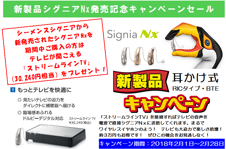 2018年2月新製品補聴器シグニアNxキャンペーンセール